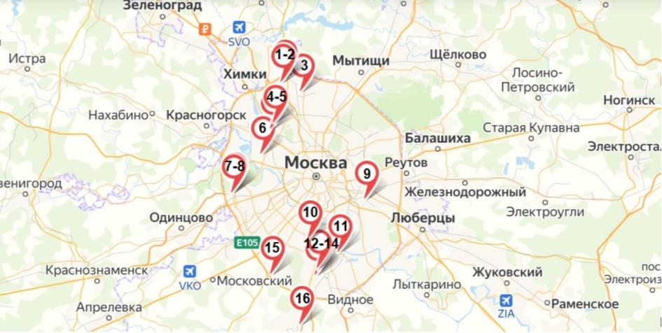 Карта проектов московской программы реновации промзон. Полное описание объектов— см. таблицу