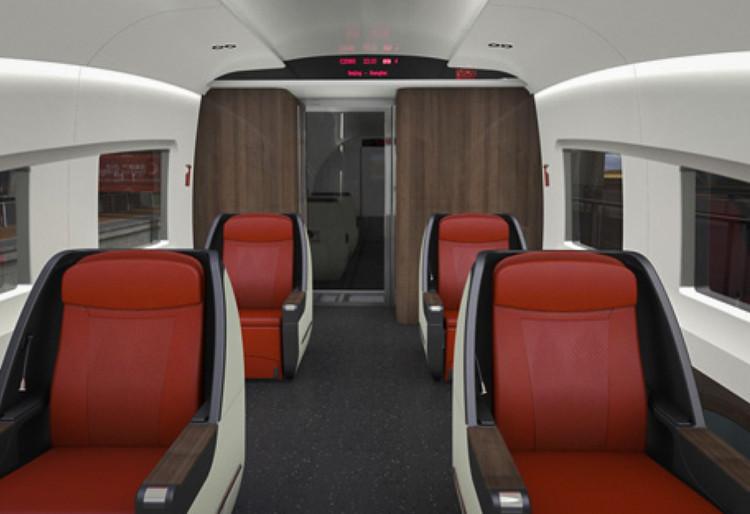 Так будет выглядеть интерьер вагонов самого дорогого, первого, класса. Таких кресел на 12-вагонный поезд будет всего 22