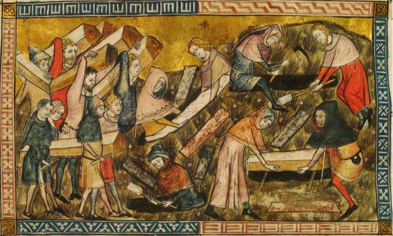 Жители Турне хоронят жертв черной смерти, 1350-1352 годы