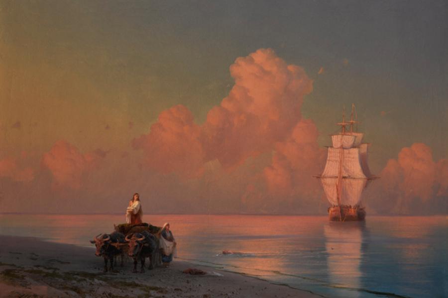 Иван Айвазовский «Буксирная тележка на берегу и пловец в шалонах»