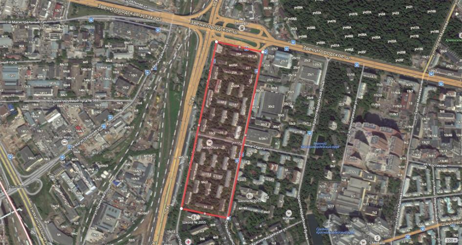 Крупный квартал пятиэтажек (22 дома) вПресненском районе, ограниченный ТТК иЗвенигородским шоссе