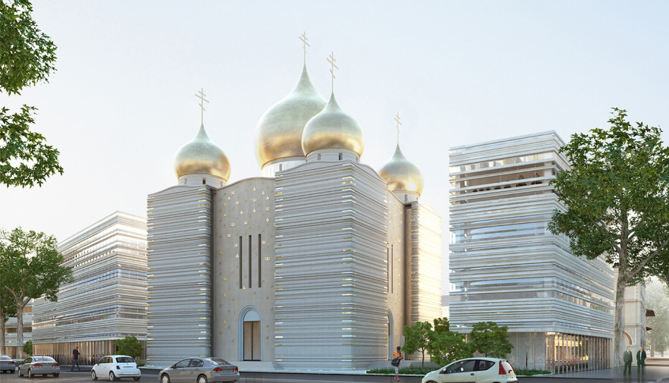 Проект Российского культурного духовного центра архитектурного бюро Wilmotte & Associés. Фото: Wilmotte