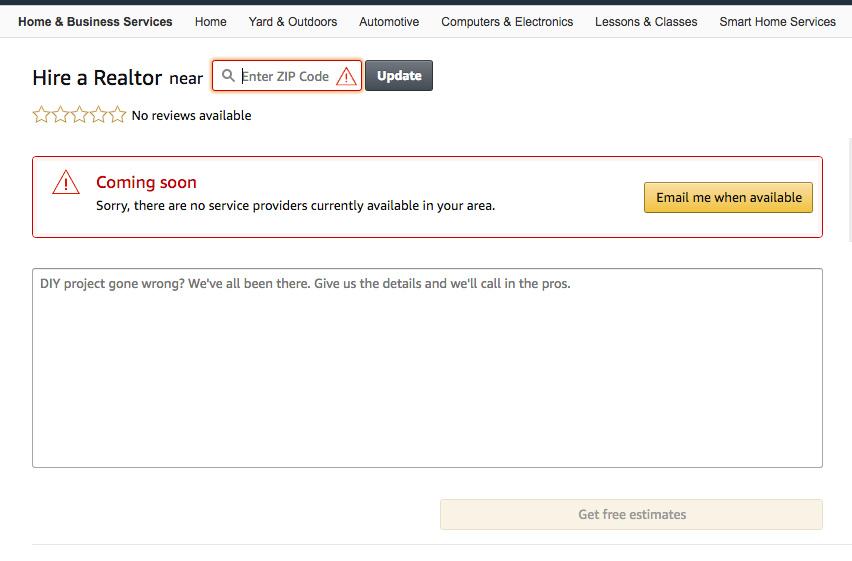 Скриншот удаленного сервиса по поиску риелторов на сайте Amazon.com