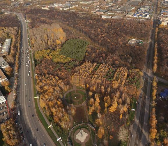 Вид сверху на территорию парка Калинина, где планируется создать Парк искусств.