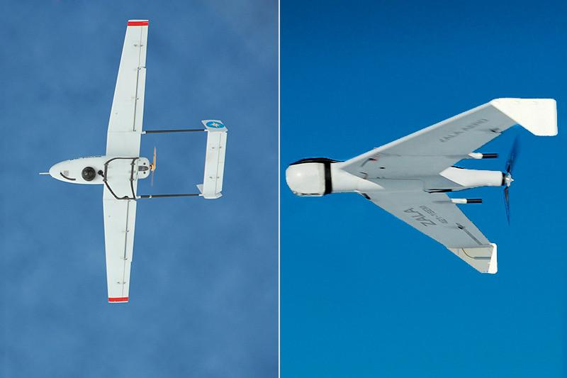 По заказу Минобороны России компания «Транзас» разрабатывает БПЛА «Дозор» (слева), а Zala Aero поставляет аппараты структурам МЧС и МВД