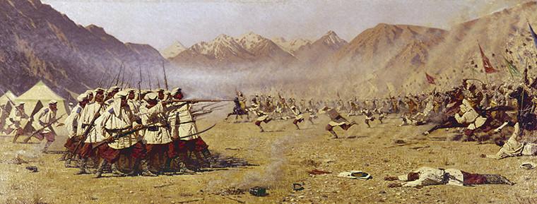 Репродукция картины Василия Верещагина «Нападают врасплох»