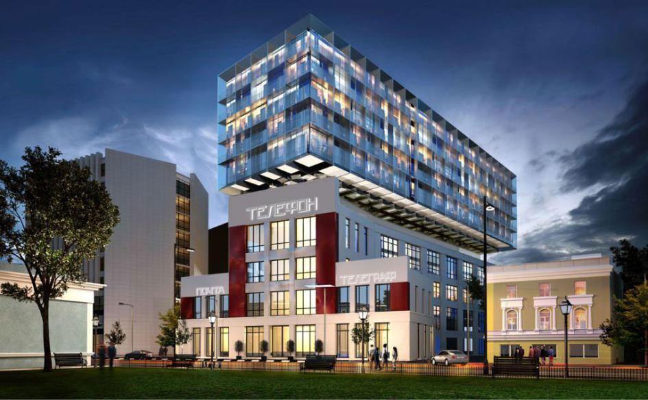 Визуализация проектареконструкции здания бывшей АТС с надстройкой под отель и апартаменты