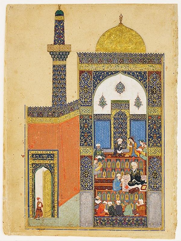«Лейли и Меджнун в школе». Миниатюра к поэме Низами «Лейли и Меджнун». Ja'far Baisunghuri, 1431-32 годы