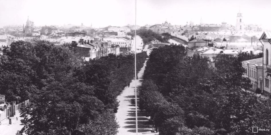 Вид на Петровский бульвар. Автор— неизв. Дата съемки— 1888 года