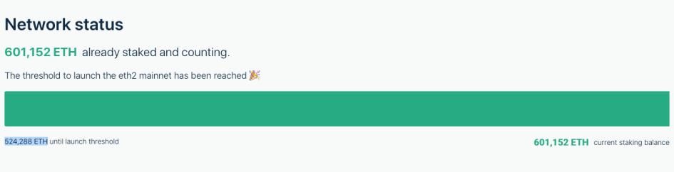 Количество ETH на депозитном контракте Ethereum 2.0