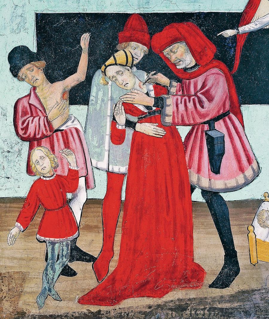 Врач, лечащий жертв чумы, житие святого Себастьяна. Фрагмент фрески в часовне Святого Себастьяна, (Франция), XV век