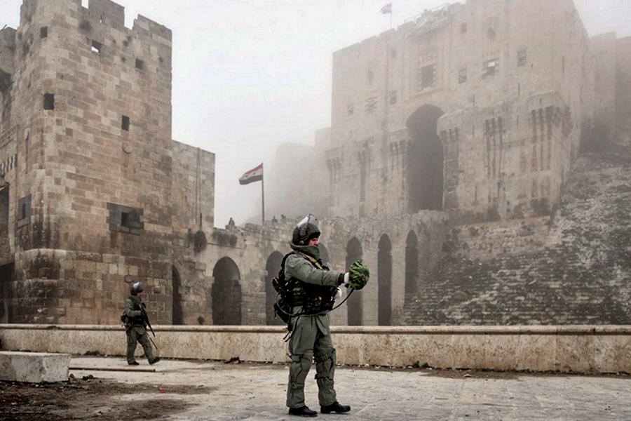 Разминирование исторической цитадели древней крепости Алеппо российскими военными. Февраль 2017 года