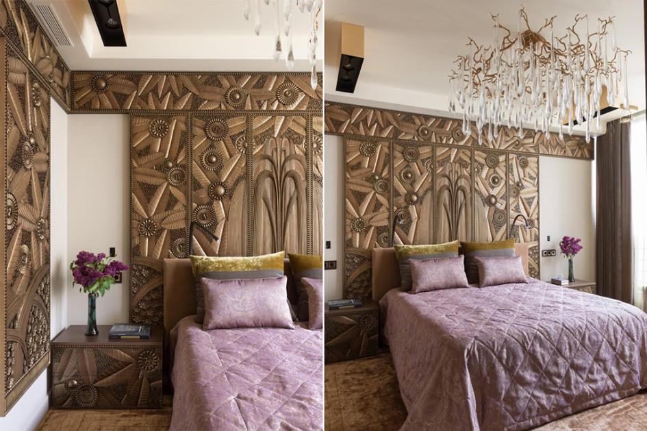 Спальня. Панели «София-Декор» поэскизам архитектора, ихжеизголовье кровати, люстра Serip