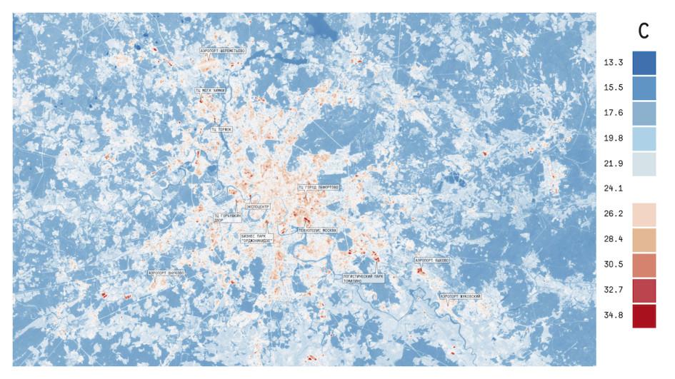 Визуализация эффекта теплового острова в центре Москвы и в районе крупных инфраструктурных объектов в июне 2016 года на основе методов дистанционного зондирования земли, компьютерной обработки данных спутника Landsat 8 и геоинформационной платформы городских данных КБ Стрелка