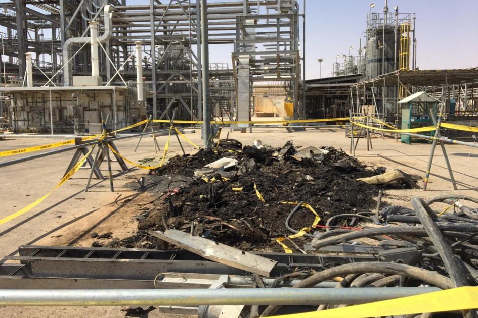 Последствия атаки дронов на месторождение Saudi Aramco в Хурайсе