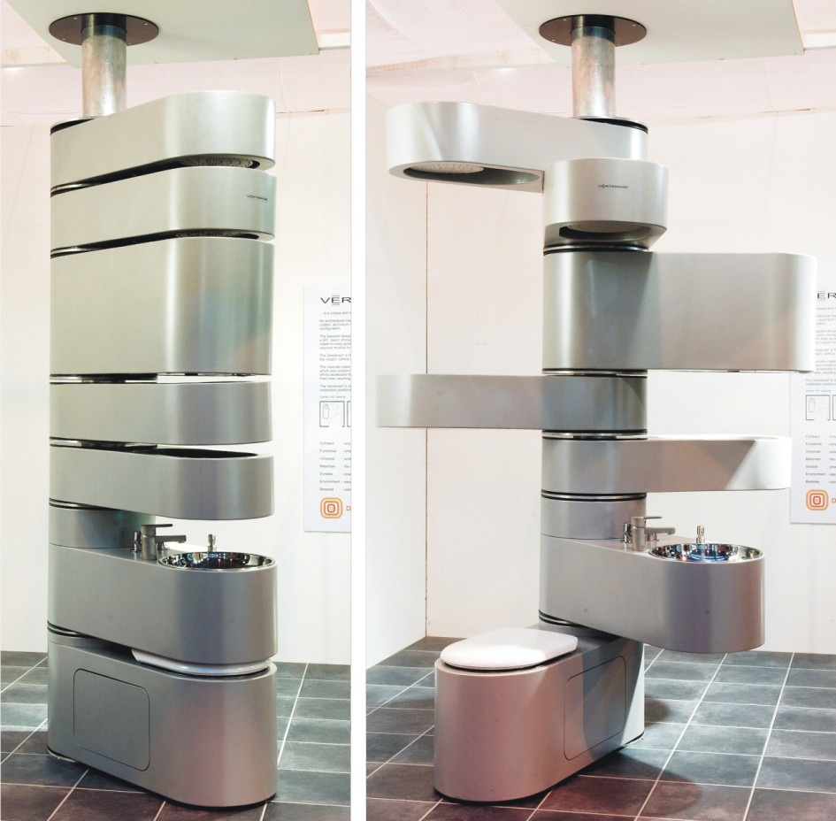 Функциональная колонна с унитазом, душем и полками