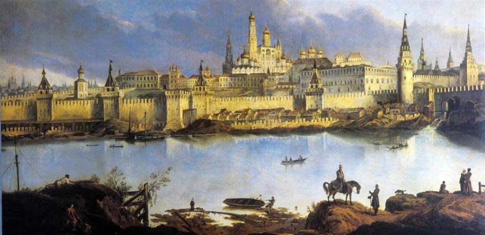 Почтовая открытка с изображением Московского Кремля в XVII-XVIII веках