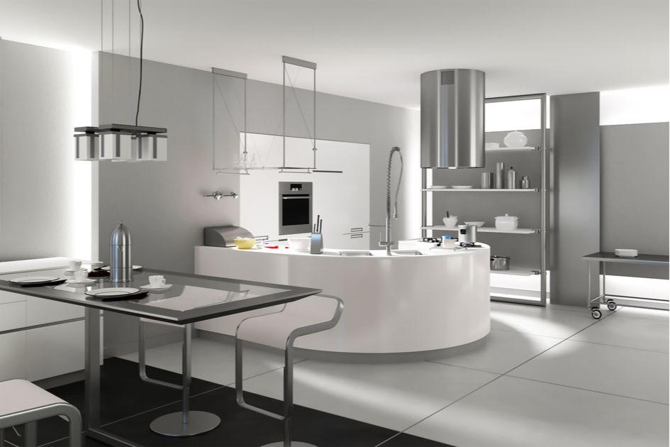 Гостиная-кухня в стиле хай-тек