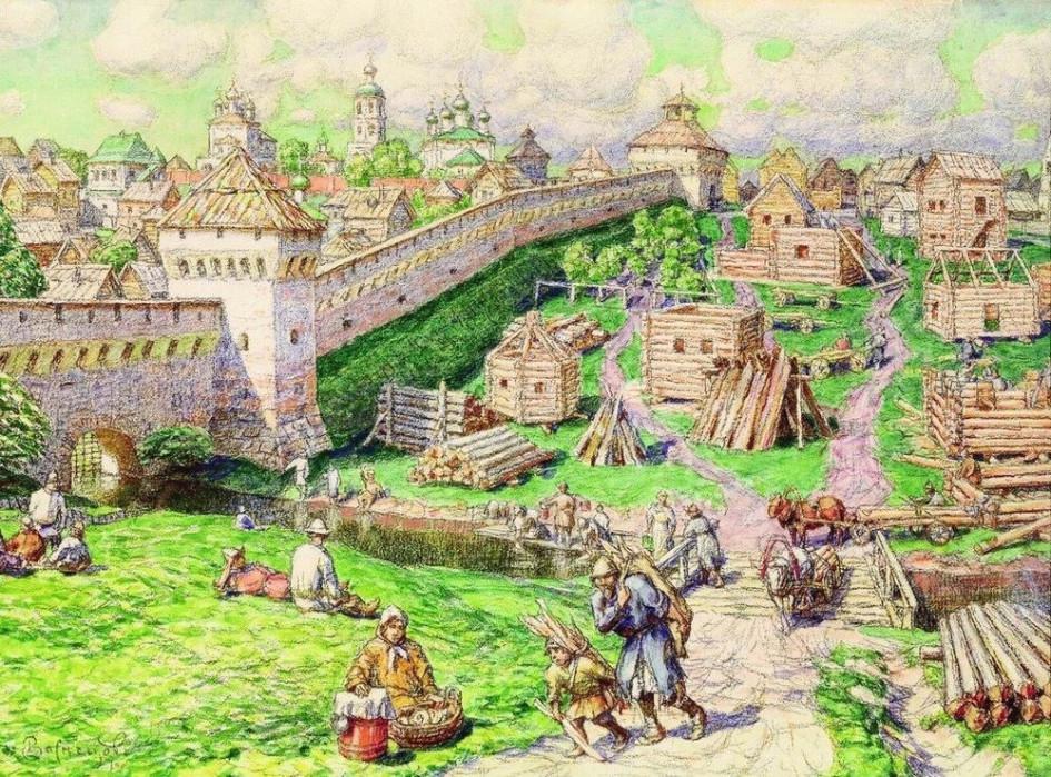 Аполлинарий Васнецов. Лубяной торг на Трубе в XVII веке