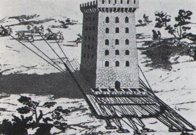 Маттис Пуул. Передвижка каменной башни, осуществленная архитектором из Болоньи. Гравюра XVI века