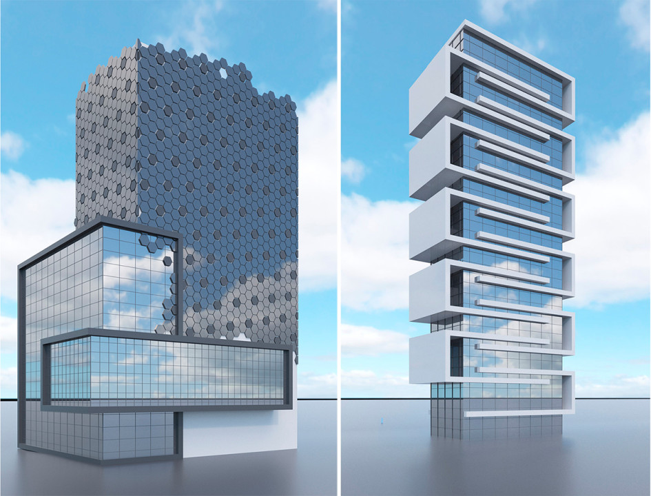 Проект ЖК «Криштиану Home» (слева) и отеля «11 городов»