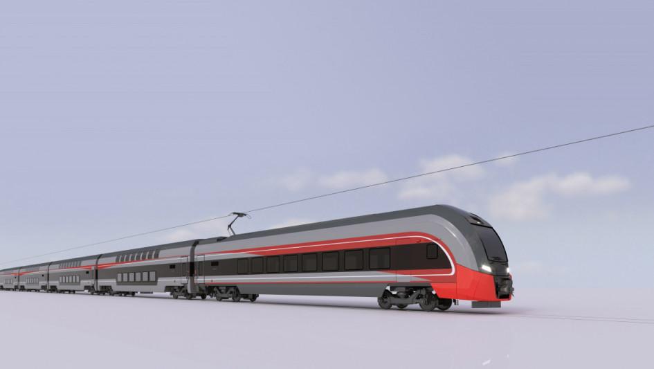 Эскиз двухэтажного поезда