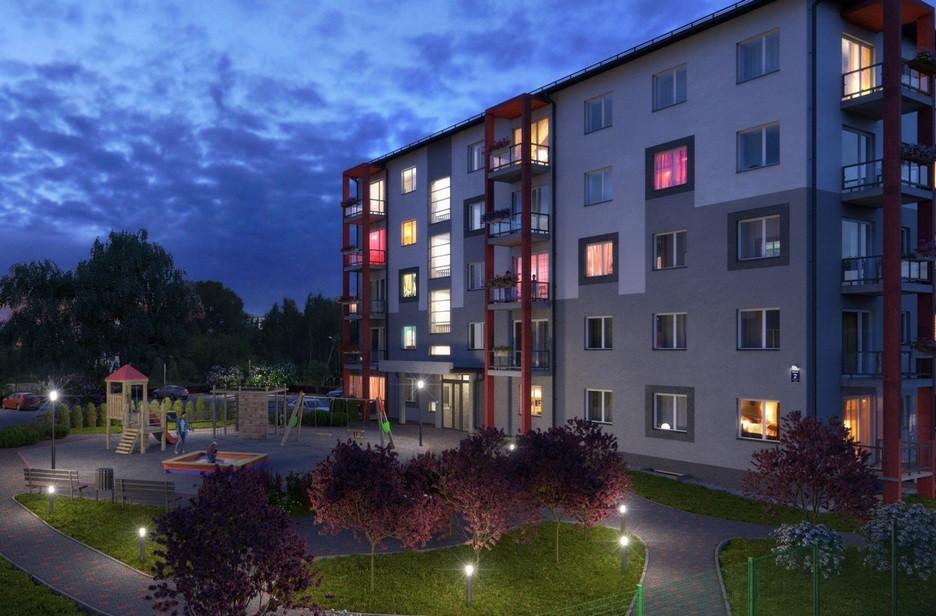 Проект нового пятиэтажного жилого комплекса вРиге