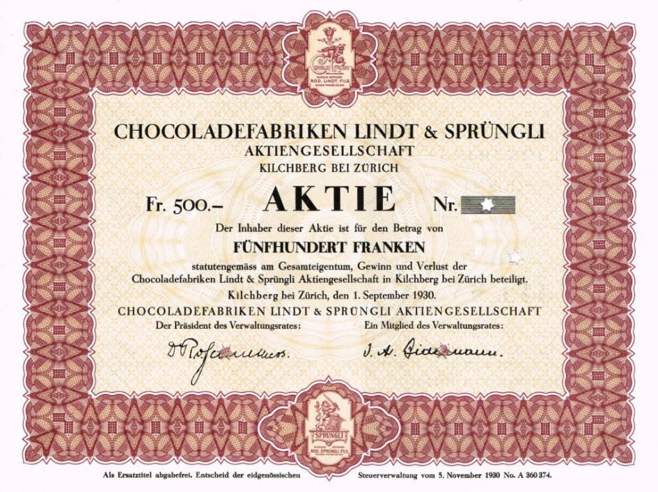 Акция шоколадной фабрикиLindt & Spruengli AG, выпущенная 1 сентября 1930 года