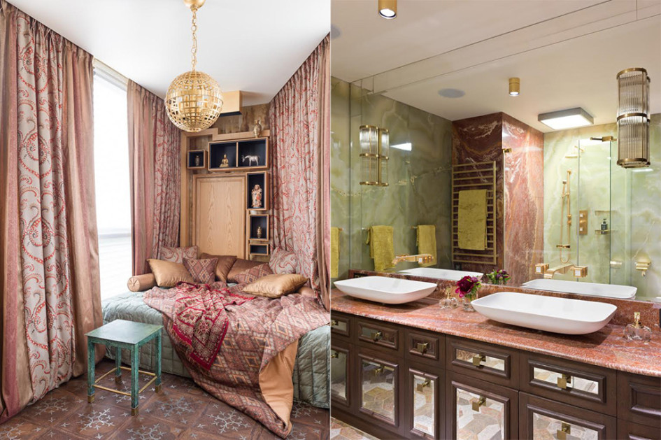 Розовый будуар хозяйки. Ванная: ониксовые стеновые панели, смесители THG со вставками Lalique