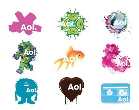 Логотипы компании Aol после ребрендинга