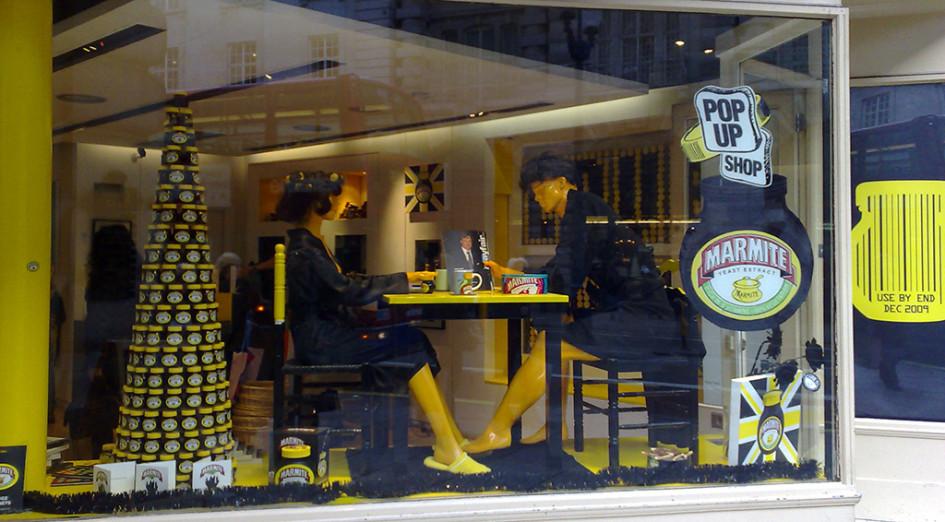 Временный магазин производителя спреда Marmite вЛондоне