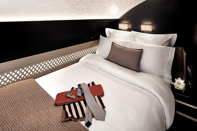Спальня вапартаментахналайнере А380-800 авиакомпанииEtihad
