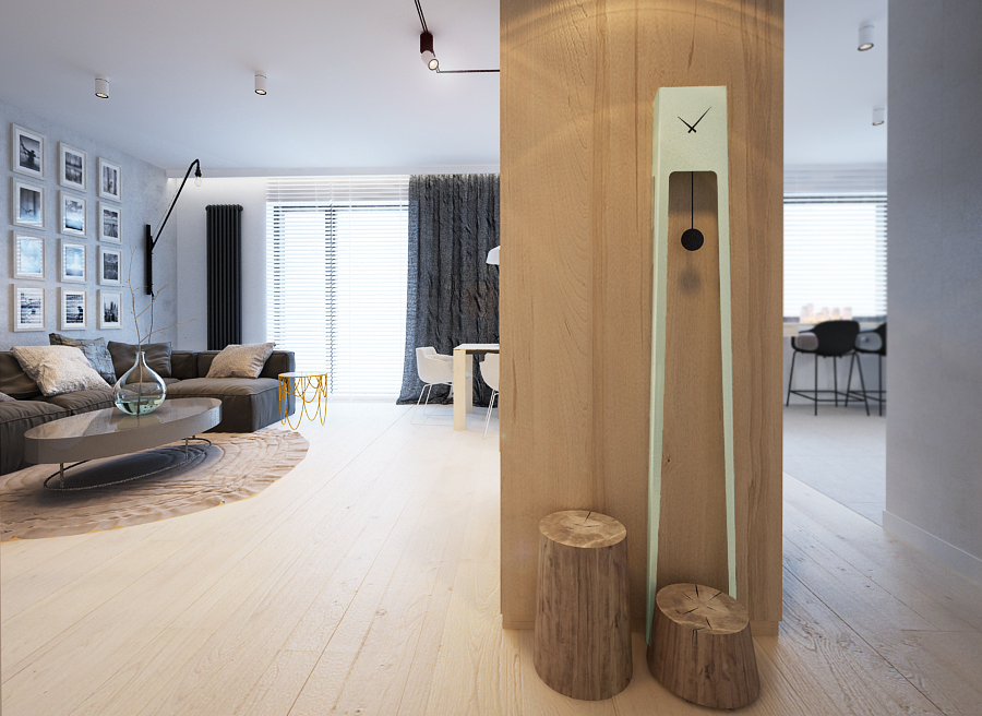 Трендовые напольные часы в гостиной
