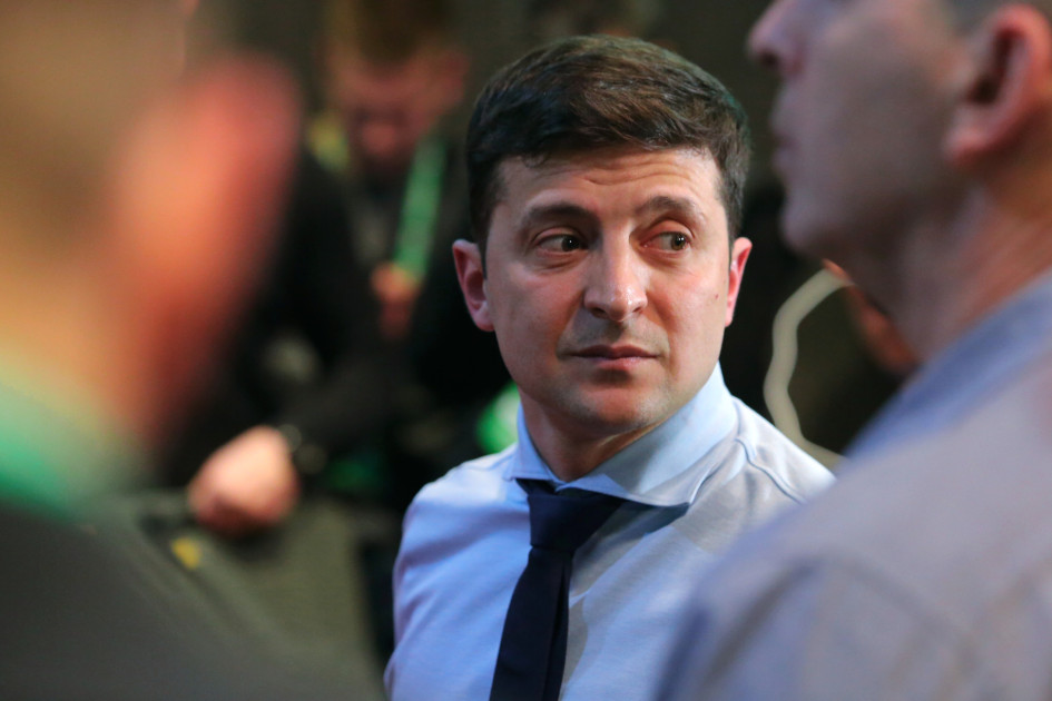 Владимир Зеленский в своем избирательном штабе