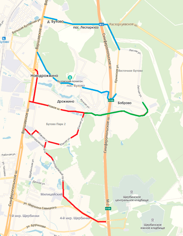 Схема автомобильного движения в районах Бутово, Дрожжино, Боброво. Синий цвет— существующие маршруты; красный цвет— недоступные маршруты; зеленый цвет— новая дорога. После открытия новой дороги активизируются все маршруты (красный цвет), которые до этого момента были недоступны для движения
