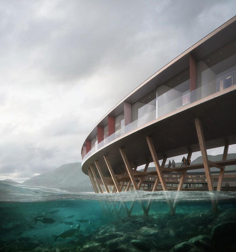 Отель будет частично нависать над озером