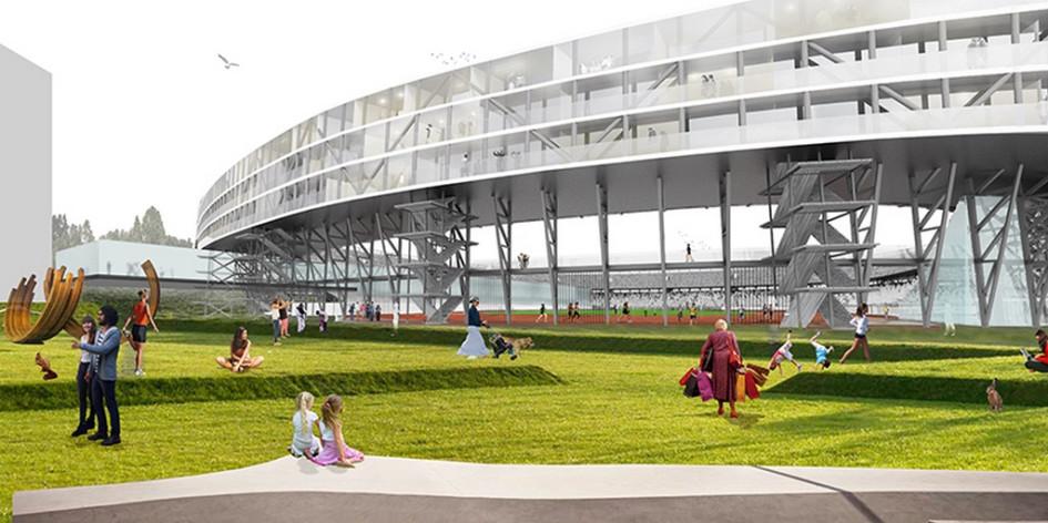 Рядом состадионом планируется благоустроить зоны отдыха соспортивными площадками