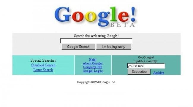 Как выглядела стартовая страница Google в 1998 году
