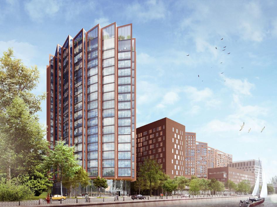 Визуализация архитектурного проекта DM Tower. Вид с Новоданиловской набережной