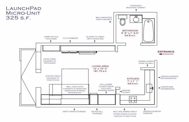 Планировка «хрущевки» Блумберга площадью 30 кв. м (325 кв. футов)