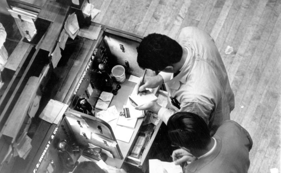 Трейдеры на Нью-Йоркской фондовой бирже. 1966 год