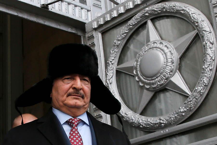 Халифа Хафтар после встречи с министром иностранных дел России Сергеем Лавровым