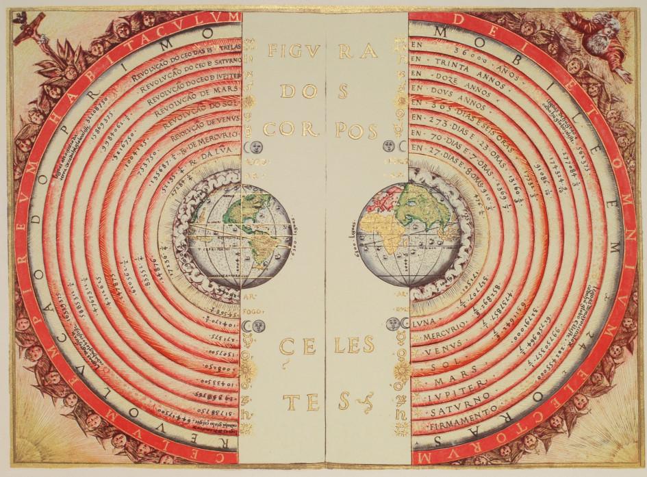 Иллюстрация геоцентрической системы мира (португальский картограф и космограф Бартоломеу Велью, 1568г.)