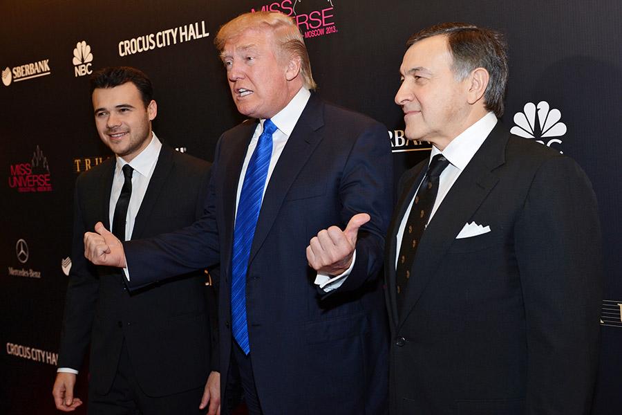 Эмин Агаларов, Дональд Трамп и АразАгаларов (слева направо)
