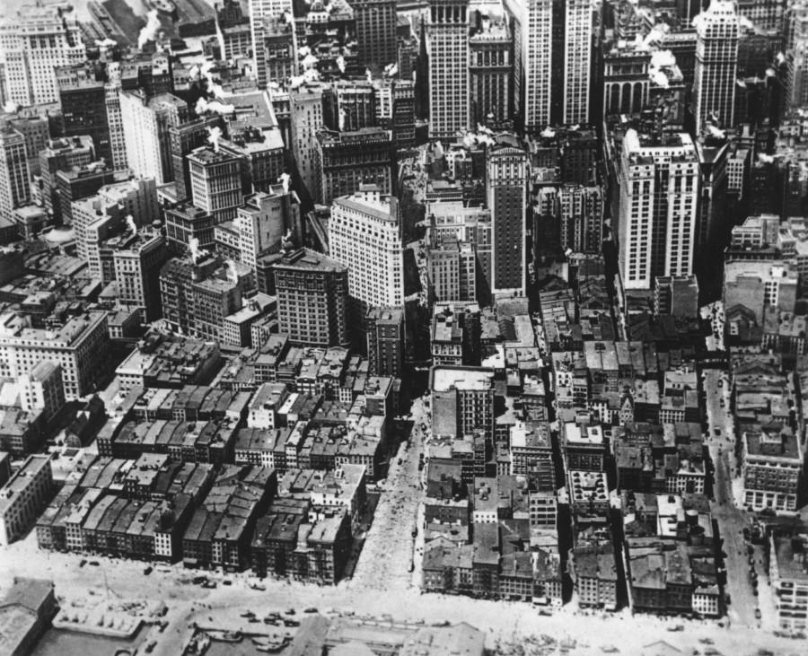 Нью-Йорк в1929 году. Вид с воздуха на Уолл-стрит, финансовый район города