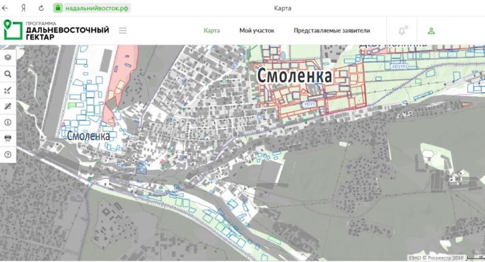 Пример доступного гектара на карте