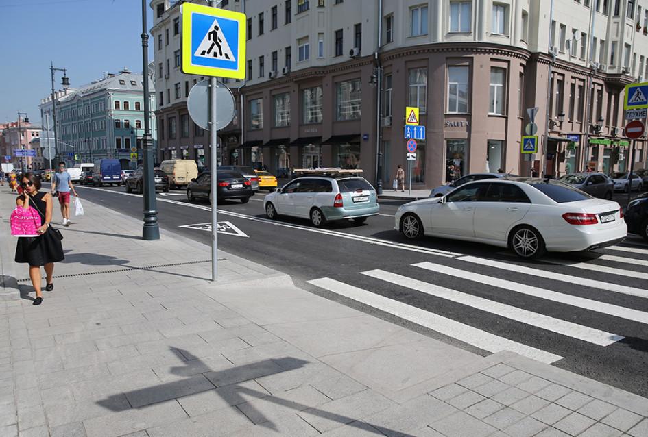 Улица Сретенка после работ по ее благоустройству в рамках программы «Моя улица»