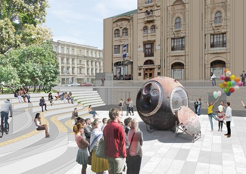 Из портфолио Wowhaus: визуализация проекта благоустройства территории вокруг Политехнического музея