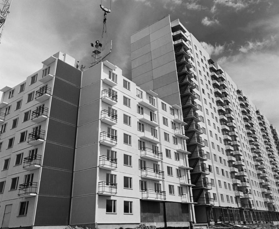 Строительство жилых домов в Кунцеве в 1975 году