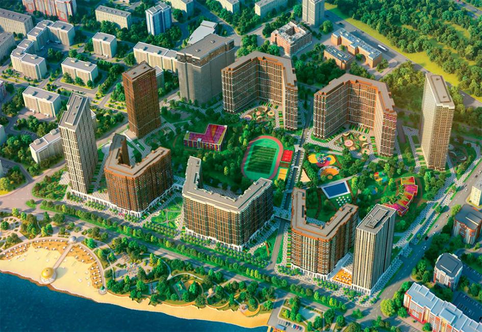 Визуализация планировки квартала бизнес-класса «Сердце Столицы». Здесь можно приобрести квартиру с готовой отделкой